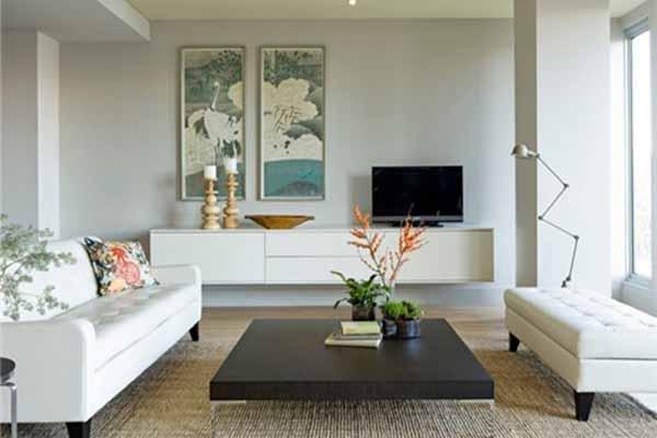 客厅白墙装饰图