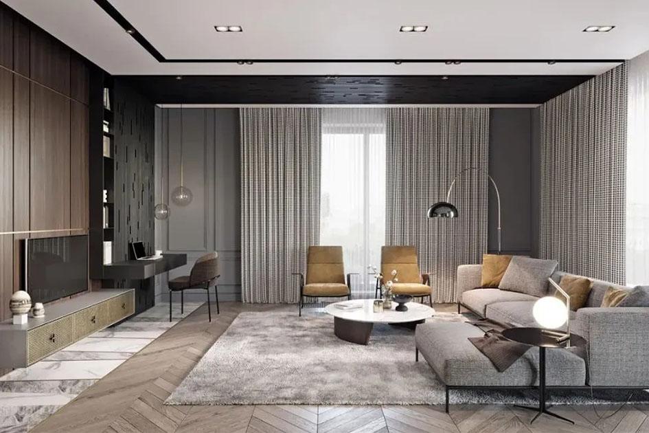客厅墙面贴砖效果图